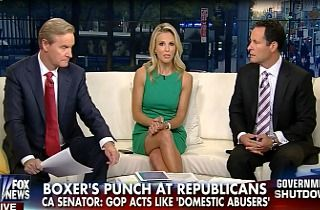 """Fox's Hasselbeck Calls Out Media Silence After Barbara Boxer 'Trivialized' Domestic Violence - 10/15/13: """"When you start acting like you're committing domestic abuse, you've got a problem,"""" Boxer said on the floor of the U.S. Senate (comparing Republicans in Congress to people who engage in domestic abuse). """"I love you dear, but, you know, I'm shutting down your entire government. I love you dear, but I'm going to default and you're going to be weak."""" -"""