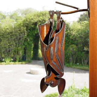 Hanging Garden Bat Sculpture from Modern Artisans #gardenchat Everyone needs a bat in their garden, right? This steel sculpture mounts on your wall or fence or any vertical surface. Made in USA.