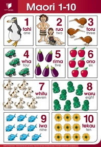 New Zealand Maori - 1 - 10 Numbers poster in Maori    Enjoy learning Te Reo Maori with this 77cm x 51 cm laminated poster perfect for any child care centre, school or children's room  $16.95