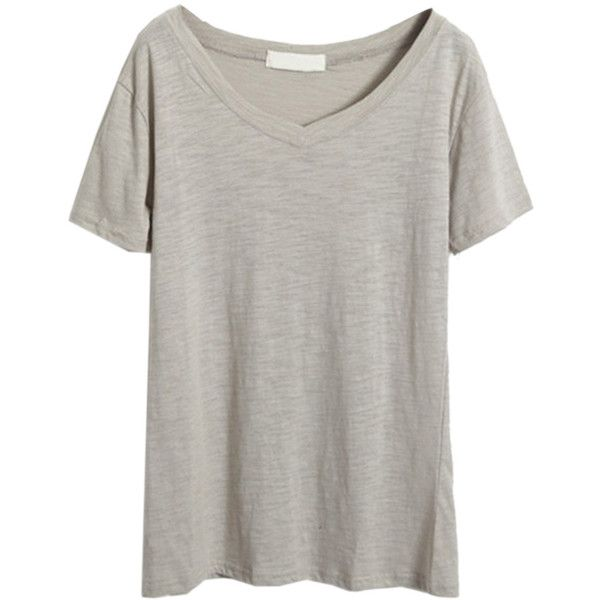 Choies Gray V Neck Short Sleeve Basic T-shirt ($18) ❤ liked on Polyvore featuring tops, t-shirts, tees, grey, gray top, v neck tee, vneck t shirts, grey v neck t shirt and gray tee