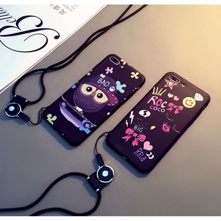 Cartoon Silicone Matte Case for Apple iPhone 7 case Owl Phone Case for iphone 6s 6plus 7 7pius Lovely Lanyard  Phone soft shell