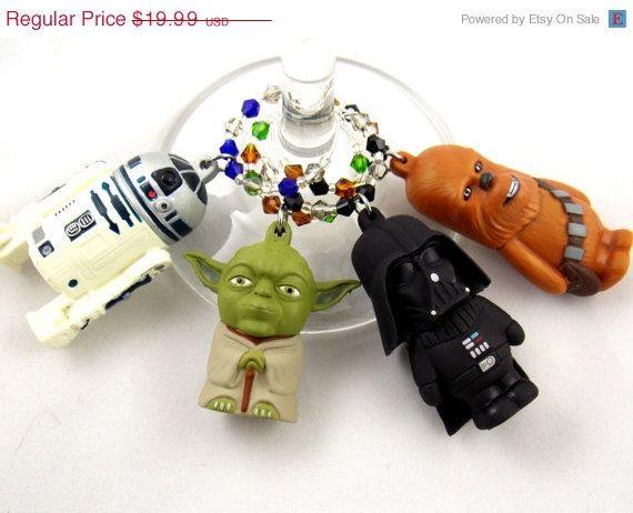 Star Wars inspired geeky wine glass charms Set by TheWarpZoneStore, $16.99