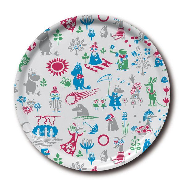 Lovely white tray featuring characters from Moominvalley in different colors. It's handmade with a classic motif taken from Tove Jansson's original drawings.