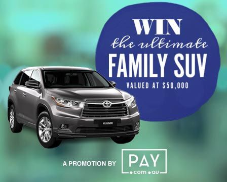 Hey there,I just answered a family survey for a Chance to Win a Toyota Kluger - the ultimate family SUV!You can Enter too here -
