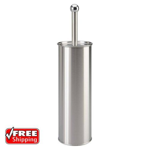 Stainless-Steel-Toilet-Brush-With-Holder-Set-Bathroom-Cleaning-Tool-Silver