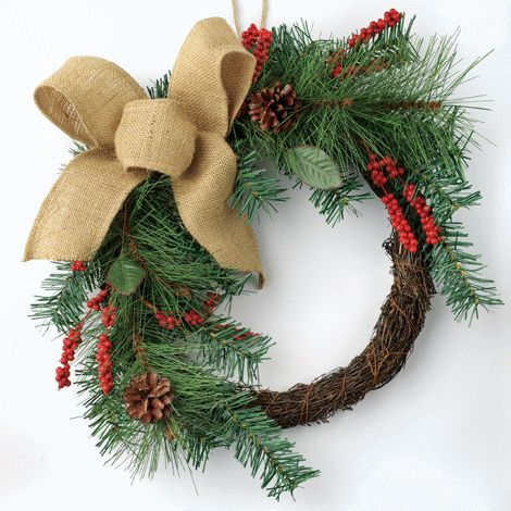 Wreath with Burlap Bow reg.  $28.00 Product Number  1021241 Holiday Must-Have! Country-style charm and warmth. Burlap, plastic, natural pine cones and rattan. www.Facebook.com/shopavonwithdeon