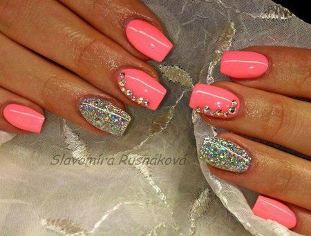 Pink nails with silver glitter accent