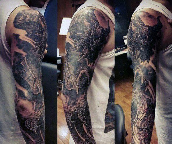 100 Dragon Sleeve Tattoo Designs For Men Fire Breathing Ink Ideas In 2020 Dragon Sleeve Tattoos Tattoo Designs Men Tattoo Sleeve Designs