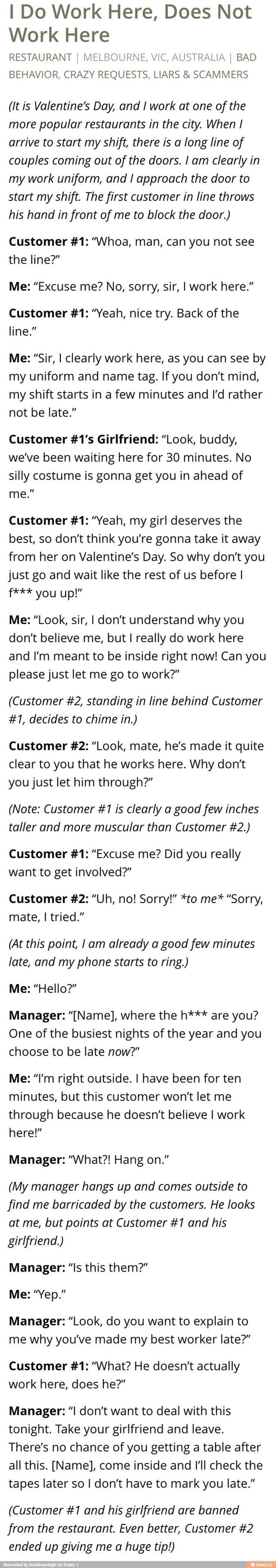 Sad... jackasses & assholes no matter where you go... Good guy customer #2 though!