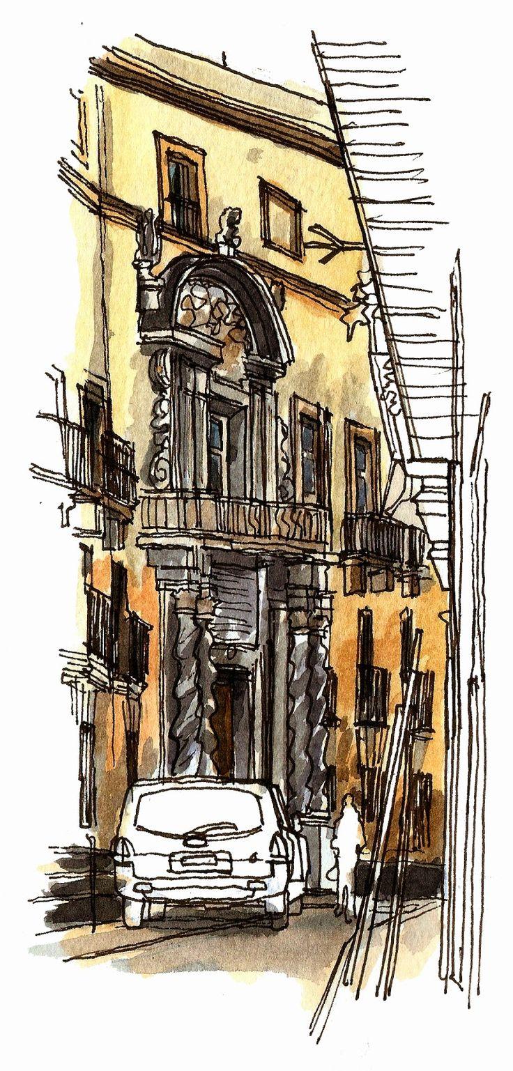 Urban Sketchers Spain. El mundo dibujo a dibujo.: EL PATRIMONIO DE CÁDIZ Y PAQUITA RICO, LA VIUDITA NAVIERA