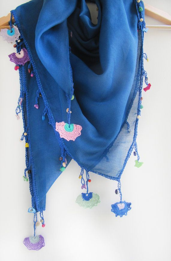 Navy blue scarf made by bead and lace handiwork on by SEVILSBAZAAR