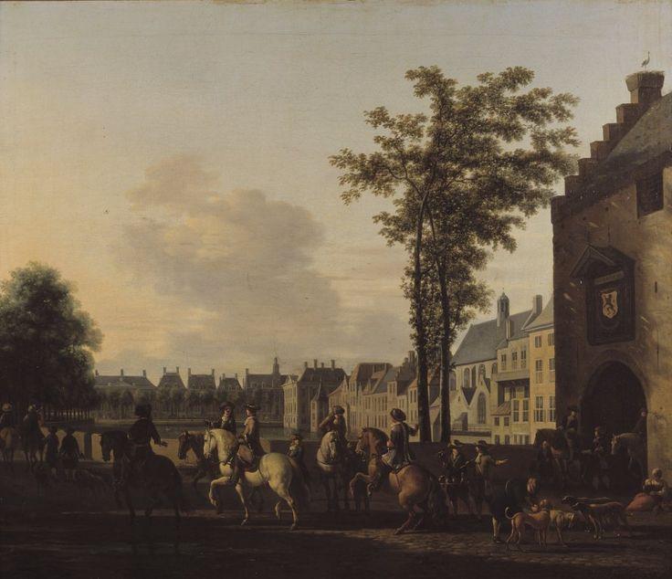 Een jachtstoet bij de hofvijver in Den Haag, gezien vanaf de plaats (ca. 1690) - Gerrit Adiaensz. Berckheyde (1638-1698).