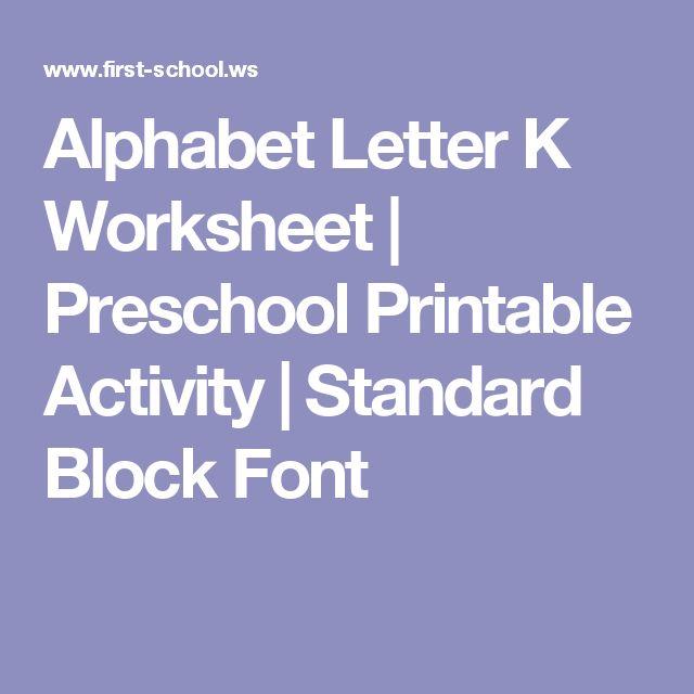 Alphabet Letter K Worksheet