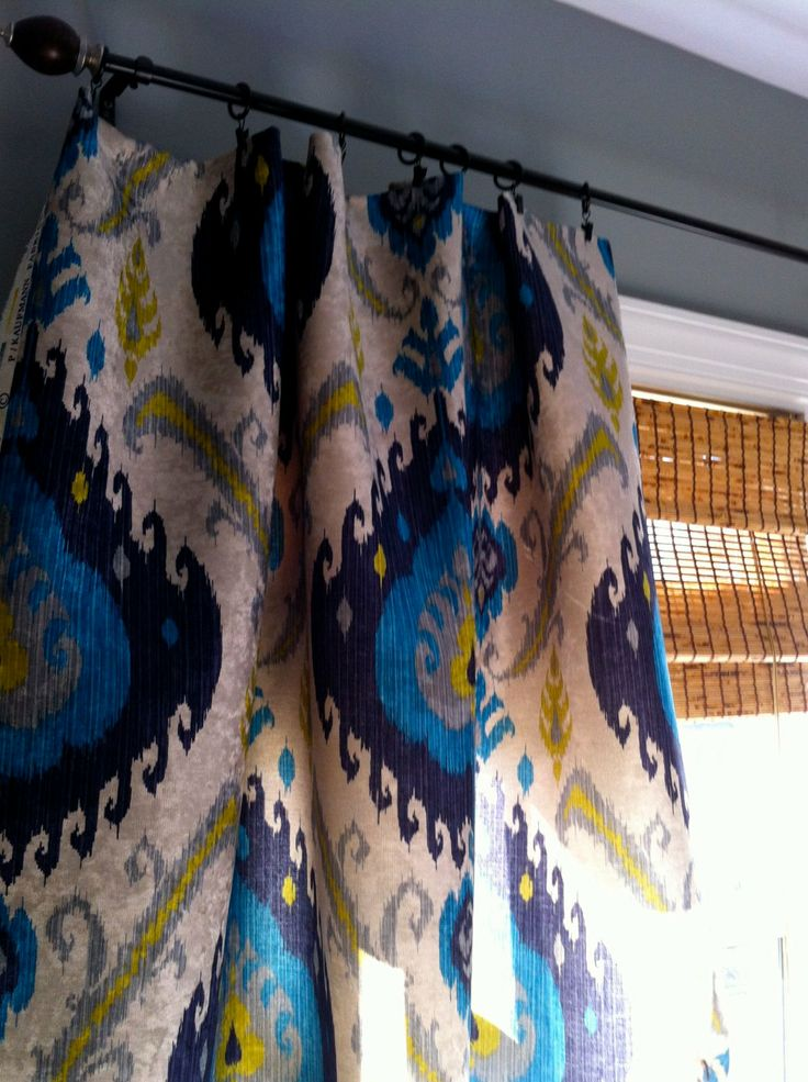 Peacock Blue Grey Yellow And Ivory Ikat Velvet By Stitchandbrush Home Pinterest