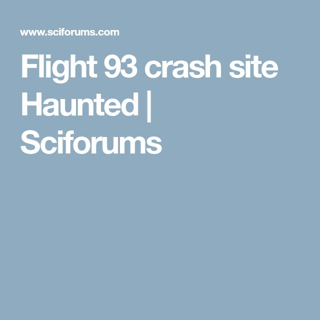 Flight 93 crash site Haunted | Sciforums