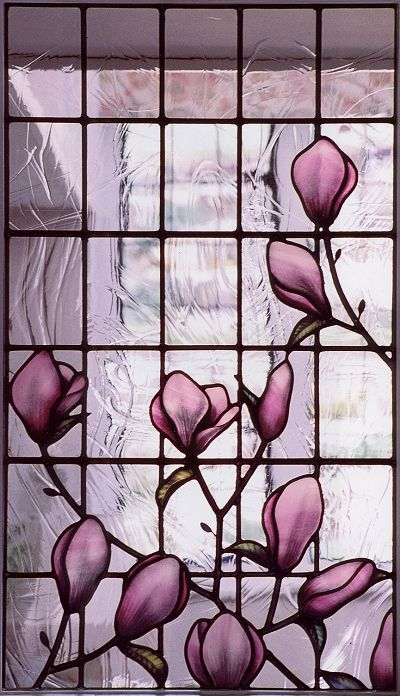 Tulip Magnolia, Deborah Lowe, Architectural Stained Glass.  For my front door please!