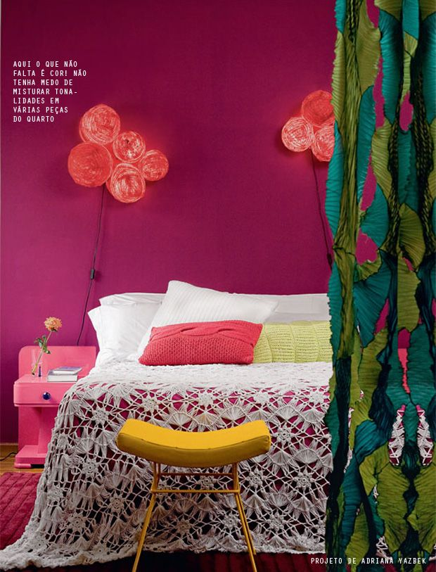 purple wall and colorful accents #decor #quartos #bedrooms