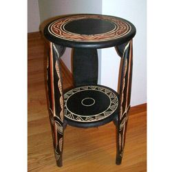 Tribal mask pedestal table ghana by african creations for Top rated coffee tables