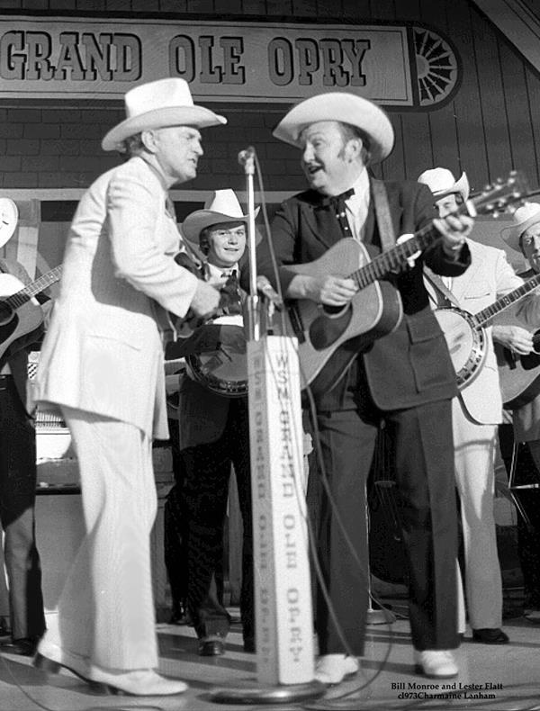 Bill Monroe with Lester Flatt Country Music Association's Fan Fair Festival at the Ryman Auditorium in Nashville, TN, June 1973. [Courtesy American Roots Music]