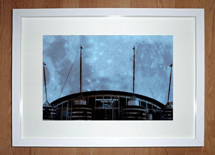 "Manchester City Framed Art Print  -  ""Blue Moon Rising"""