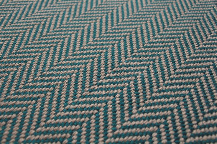 Herringbone Flatweave Teal Carpet by Hartley and Tissier