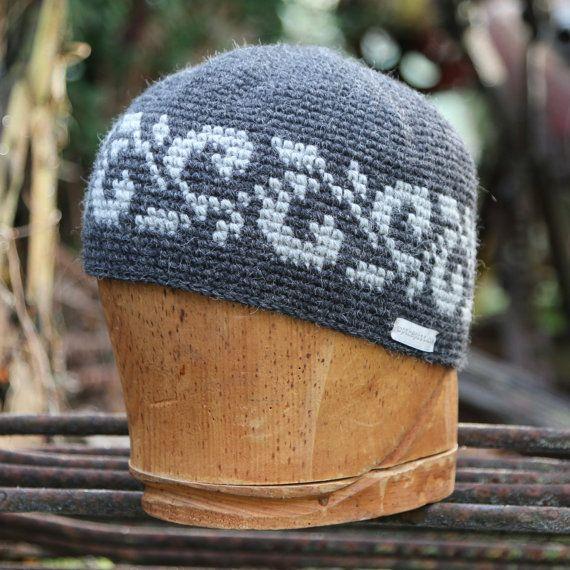 Wool beanie, unisex snowboarding hat, tapestry crochet, mosaic crochet, intarsia crochet by UpthePitt www.upthepitt.com