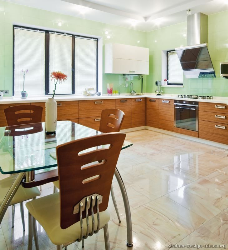 #Kitchen Idea of the Day: Modern Two-Tone Kitchen with lovely green walls.