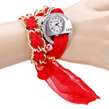 $6.15 RSOL Stylish Quartz Watch with Diamonds Round Dial and Silk Scarf Watch Band for Women