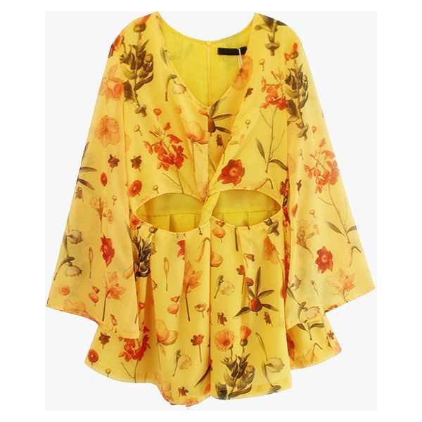 Yellow Floral Cut Out Chiffon Romper ($69) ❤ liked on Polyvore featuring jumpsuits, rompers, dresses, playsuit, yellow, chiffon romper, cutout romper, floral print romper, yellow romper and flower print romper