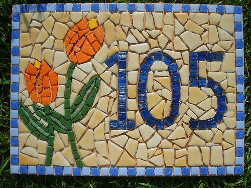 Tulips Mosaic House Number