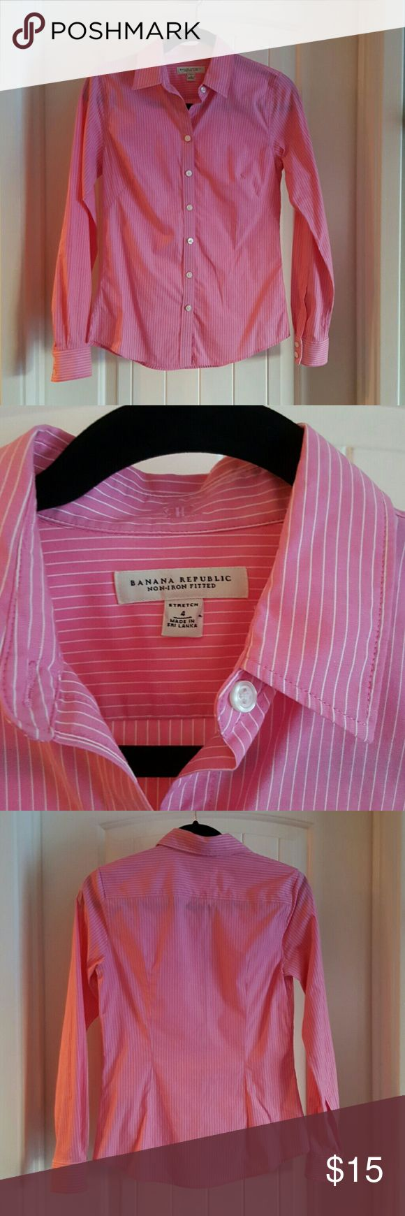 """Banana Republic, Non Iron Fitted Button Down, 4 Pink with White Pinstripes; 17"""" Bust; Overall length from back of collar to bottom hem is 26""""; 97% Cotton 3% Lycra Spandex. Banana Republic Tops Button Down Shirts"""