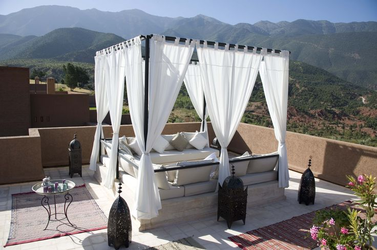 The perfect spot with the perfect view for relaxing. #LAmandierHotel #AtlasMountains #LuxuryVillas #RooftopTerraces #Morocco [Photo: Tony Craddock]