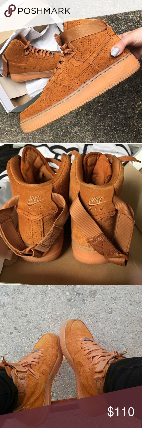Nike |  Suede Air Force Ones  Nike Suede Air Force Ones Tawny/Camel Color   Perforated Super Comfortable High Top Gum Bottom Sole   Smoke Free Home  15% off of 4 or more bundled items! Nike Shoes Sneakers