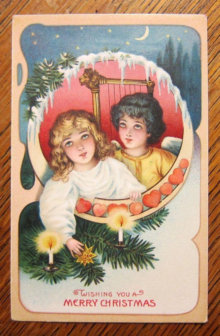 Lovely Boy Girl Candles Tree Antique Vintage 1910s Christmas Postcard | eBay