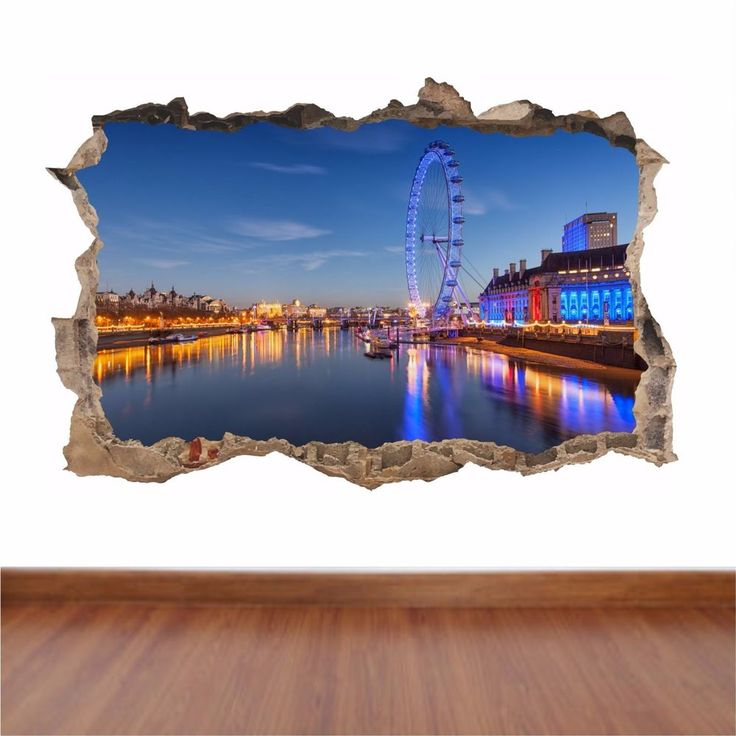 London Eye hole in the wall full colour sticker decal kids