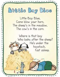 Nursery Rhyme activities:  FREE Little Boy Blue nursery rhyme poster in color & black and white.