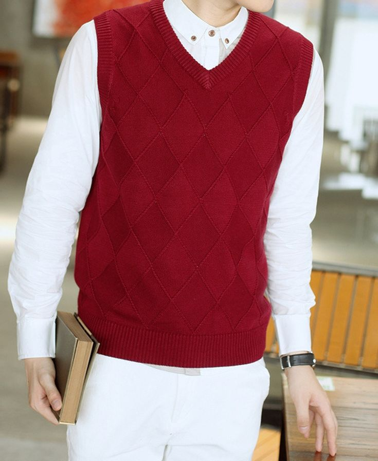 Cotton Mens Sweater Autumn Winter Solid color Korean New V-neck Sleeveless Sweater pullovers Casual Sweater Men XHC013