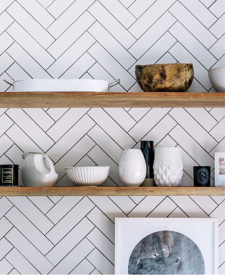 Diagonal chevron subway tiles in the kitchen w/ open shelves.  Love!  --LYC