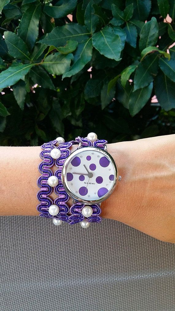 Purple Ribbon Wrist Wrap Watch Women Ladies by HarmonyHourWatches