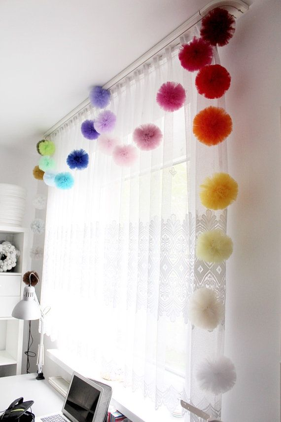 Rainbow Party Decoration Tulle Pom Pom Birthday by PomPomMyWorld
