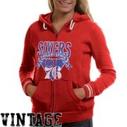 Mitchell & Ness Philadelphia 76ers Ladies Vintage NBA Full Zip Hoodie - Red