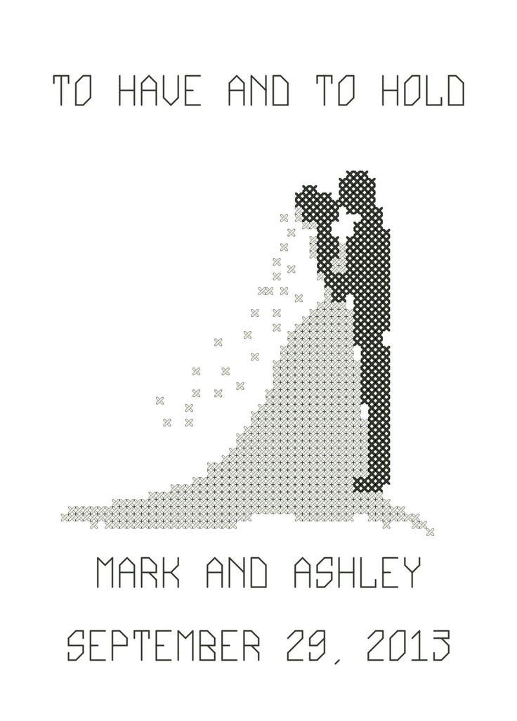 Modern Bride & Groom Silhouette Quermuster von oneofakindbabydesign