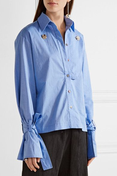 Rejina Pyo - Billie Cotton-chambray Shirt - Light blue
