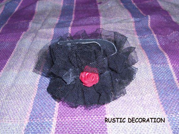 Vintage Handmade Leather Bracelet Red Burgund Rose