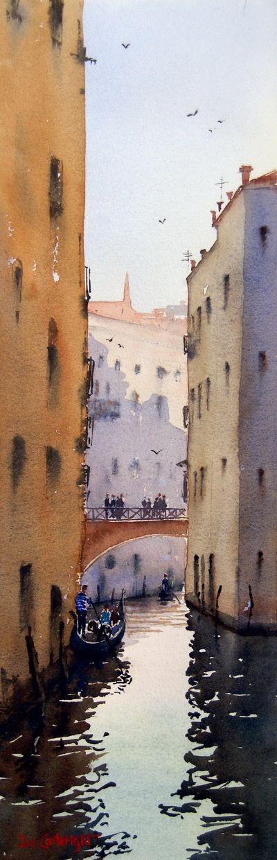 Narrow venice canal, watercolour painting by Joe Cartwright
