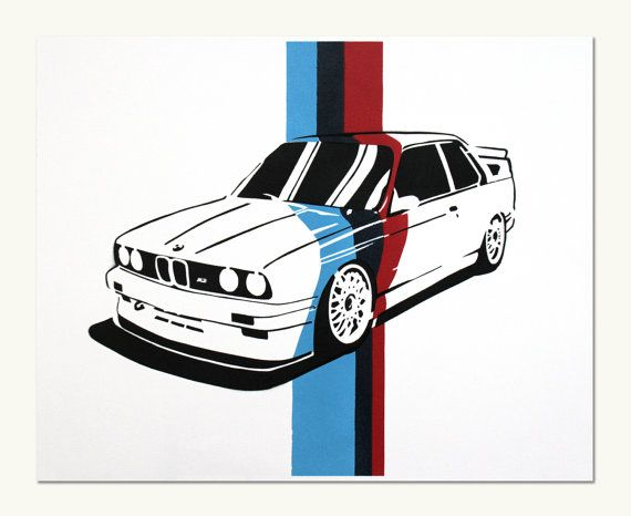 Classic Car Print  BMW E30 M3 M Colors by ManualDesigns on Etsy, $50.00