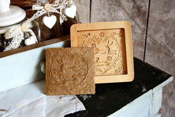 Wood Carving Cookies Stamp Fun Bake Gift Easter Present Rabbit