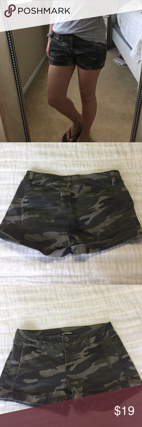 Relaxed Camo Shorts! Size 0 Express Camouflage shorts. Relaxed fit with small cuff at legs. Two front and two back pockets. Express Shorts