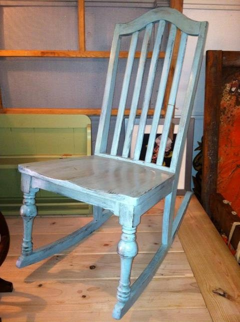 Robins Egg Blue Vintage Rocking Chair by RedBarnDecorOhio on Etsy, $60.00