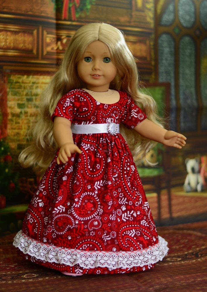 """Festive Attire"" Regency Dress, Outfit, Clothes for 18"" American Girl Caroline #LuminariaDesigns"
